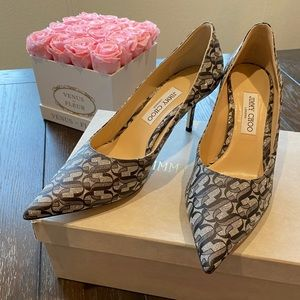 New Jimmy Choo Monogram Glitter Pointed Pumps